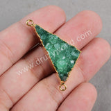Gold Plated Triangle Rainbow Natural Agate Druzy Geode Connector Double Bail Druzy Jewelry