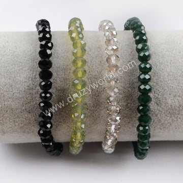 The Silver Tube With Multi-color Faceted Beads Bracelet Bangle S1479