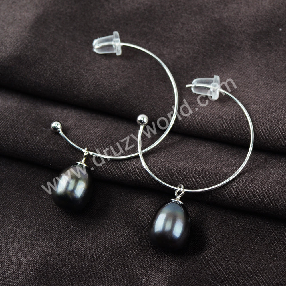 Natural Pearl Earrings Statement Earrings 925 Sterling Silver WX1370