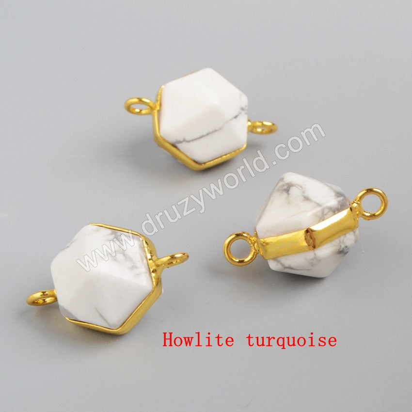 Gold Plated Hexagon Terminated Point Multi-Kind Stones Faceted Connector Double Bails G0998