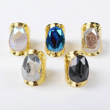 Gold Plated Rainbow Titanium Druzy Faceted Ring G1401