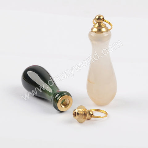Gold Natural Indian Agate Perfume Bottle Pendant WX1182