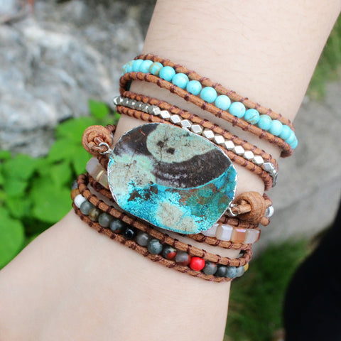 Boho-Chic Ocean Jasper Leather Wrap Beaded Bracelet HD0043