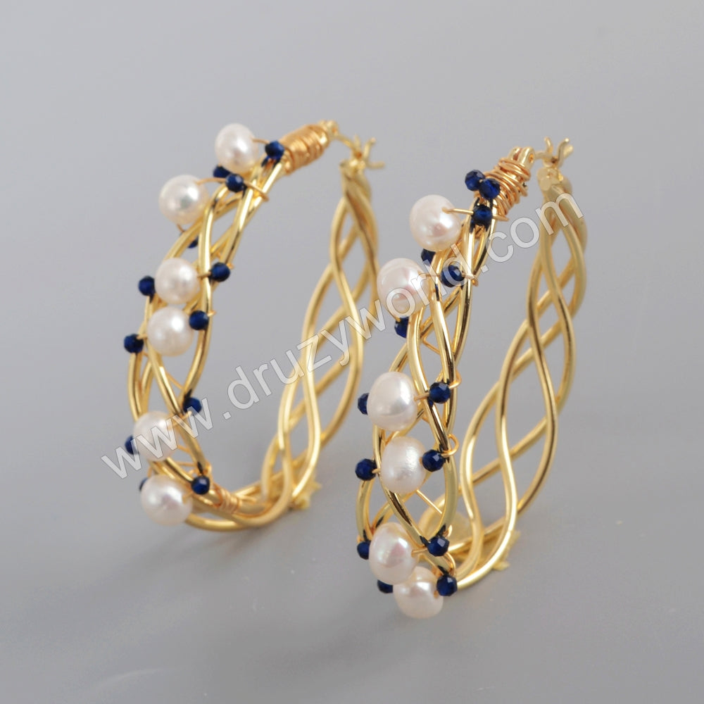 Gold Plated Natural Pearl Earrings For Women WX1316