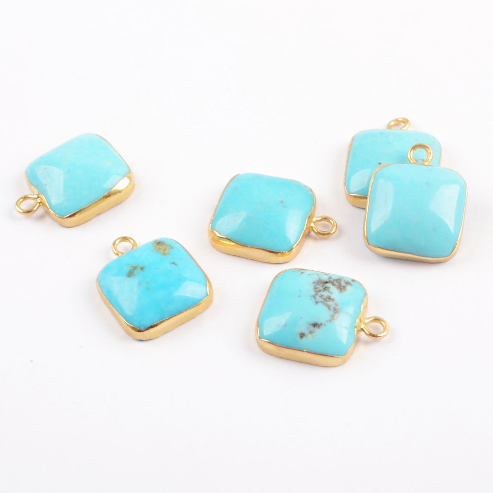 Gold Plated Square Curved Surface Natural Turquoise Charm G0628