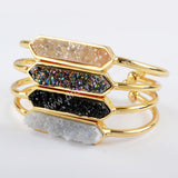 Gold Plated Bezel Titanium Rainbow Hexagon Druzy Bangle ZG0317