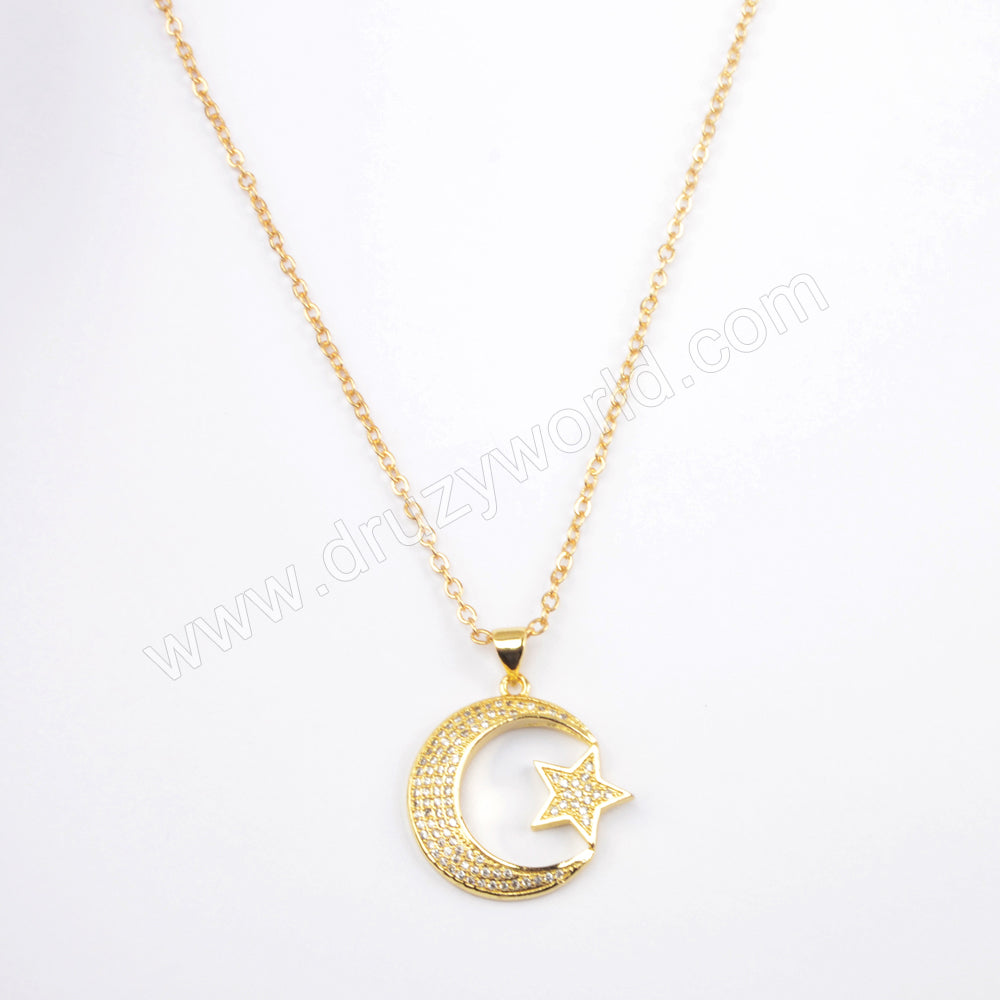 "16"" Gold Plated CZ Micro Pave Moon Star Necklace WX1587"