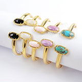 Gold Plated Bezel Hexagon Faceted Multi-kind Stone Double-Stone Bangle ZG0376