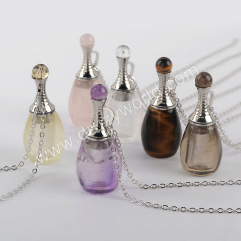 "26"" Silver  Natural Stone Perfume Bottle Necklace WX1222-N"