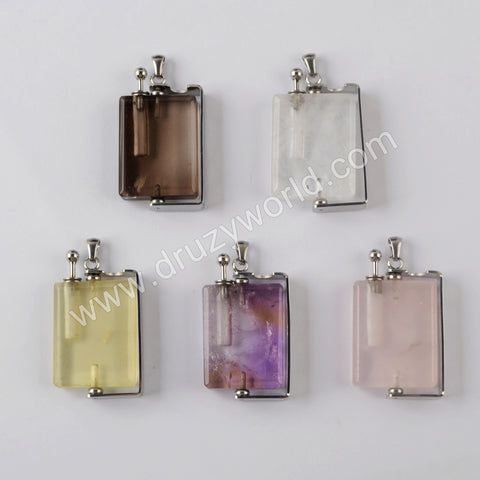Natural Multi-kind Stones Perfume Bottle Pendant Silver Plated WX1301