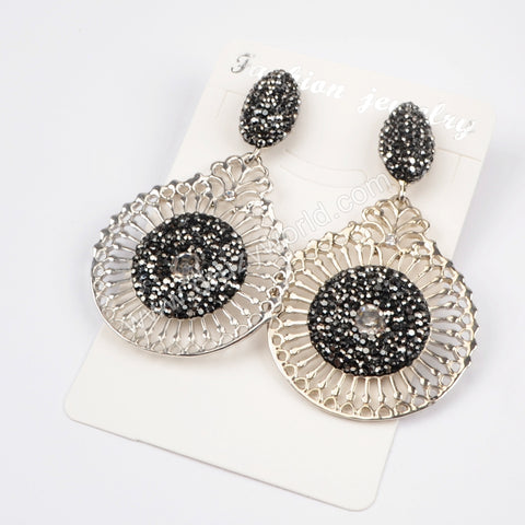 Rhinestone Pave Carved Drop Crystal Stud Earrings JAB773