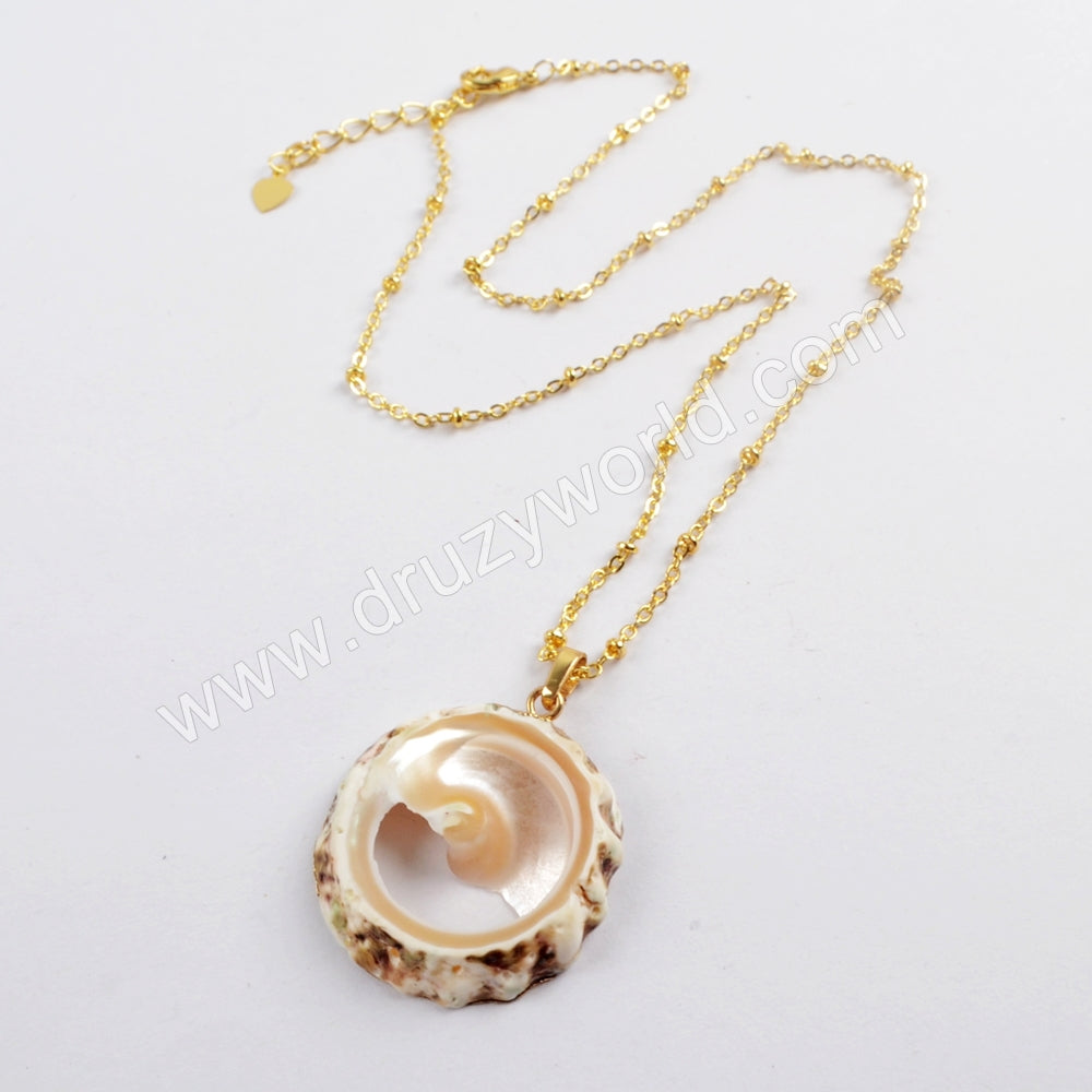 "20"" Gold Plated Round Shell Slice Necklace G1610-N"