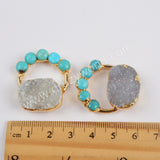 Gold Plated Natural Agate Druzy & Five Round Natural Turquoise Charm G1855