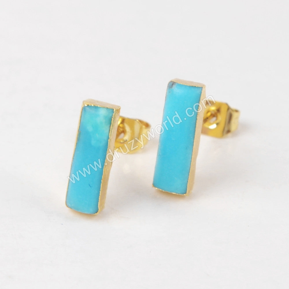 Rectangle Gold Plated Natural Turquoise Stud Earrings G1274