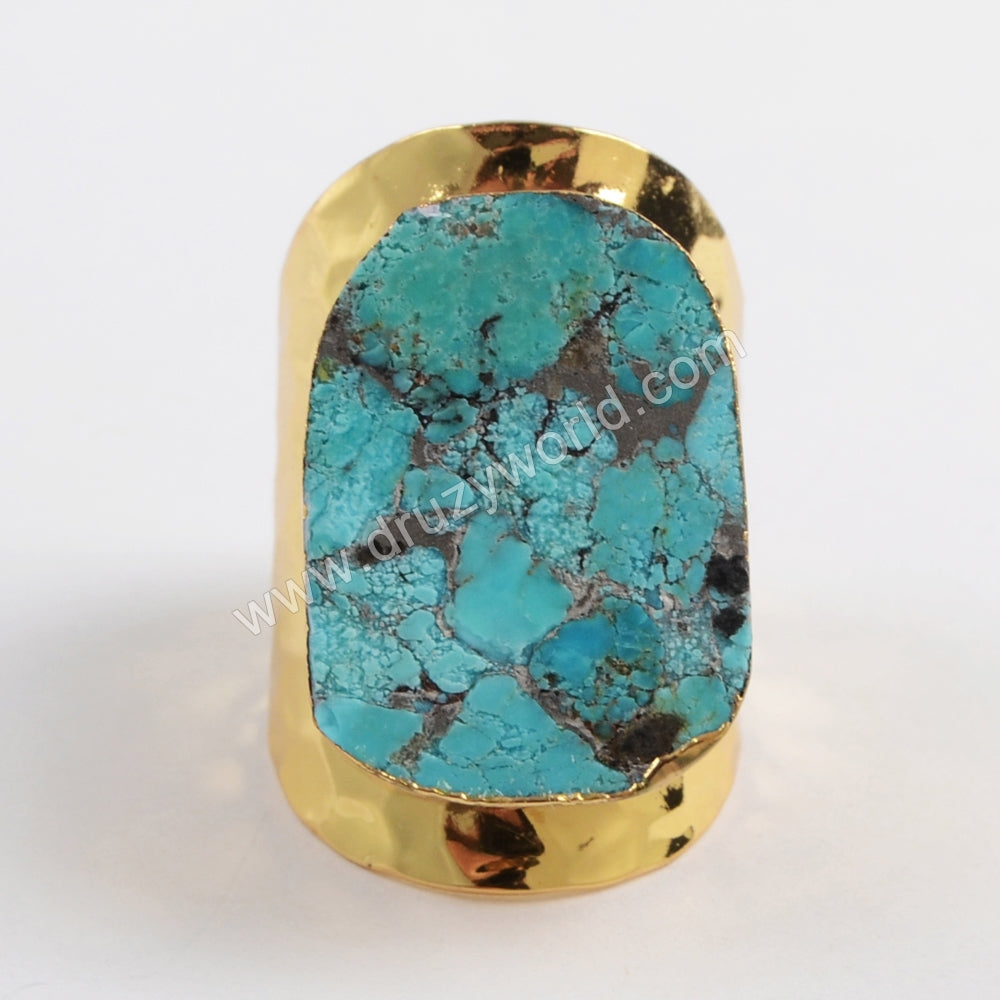 Gold Plated Natural Copper Turquoise Ring G1458/S1458