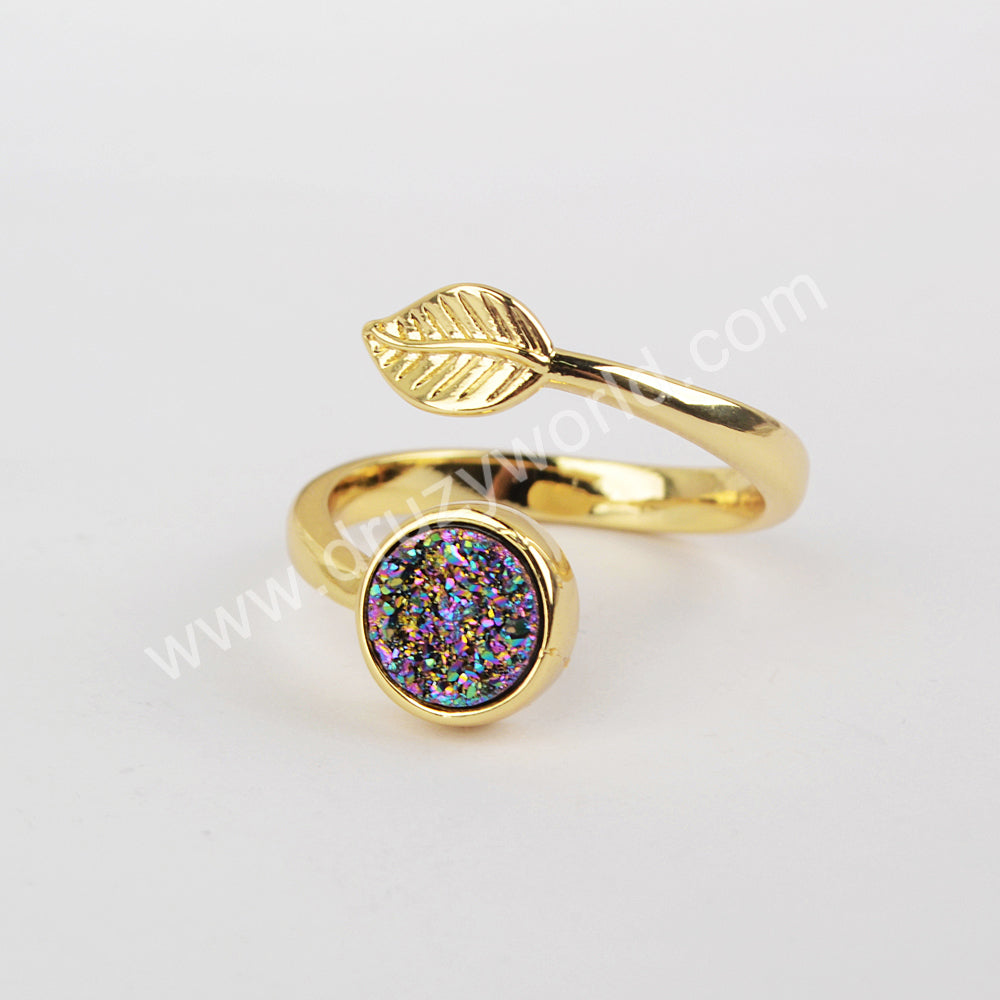 Natural Agate Titanium Druzy Adjustable Fashion Ring Gold Plated ZG0437