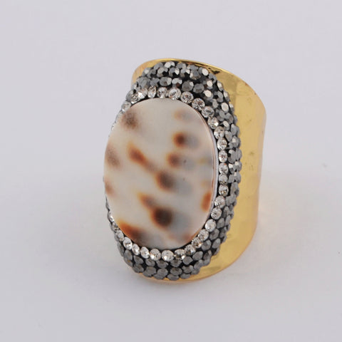 9.0 Large Size Stainless Steel Gold Conch Shell Ring