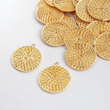 Gold Plated Carved Coin Charm PJ100