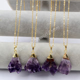 Gold Plated Amethyst Pendant Necklace WX894-N