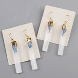 Gold Plated Selenite Quartz & Kyanite Bar Earrings G1870