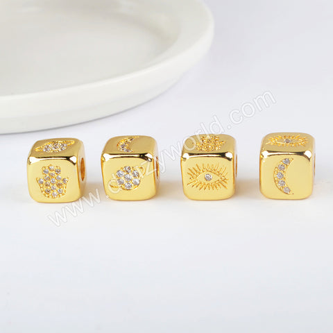 CZ Micro Pave Pattern Beads For Jewelry Making Gold Plated WX1338