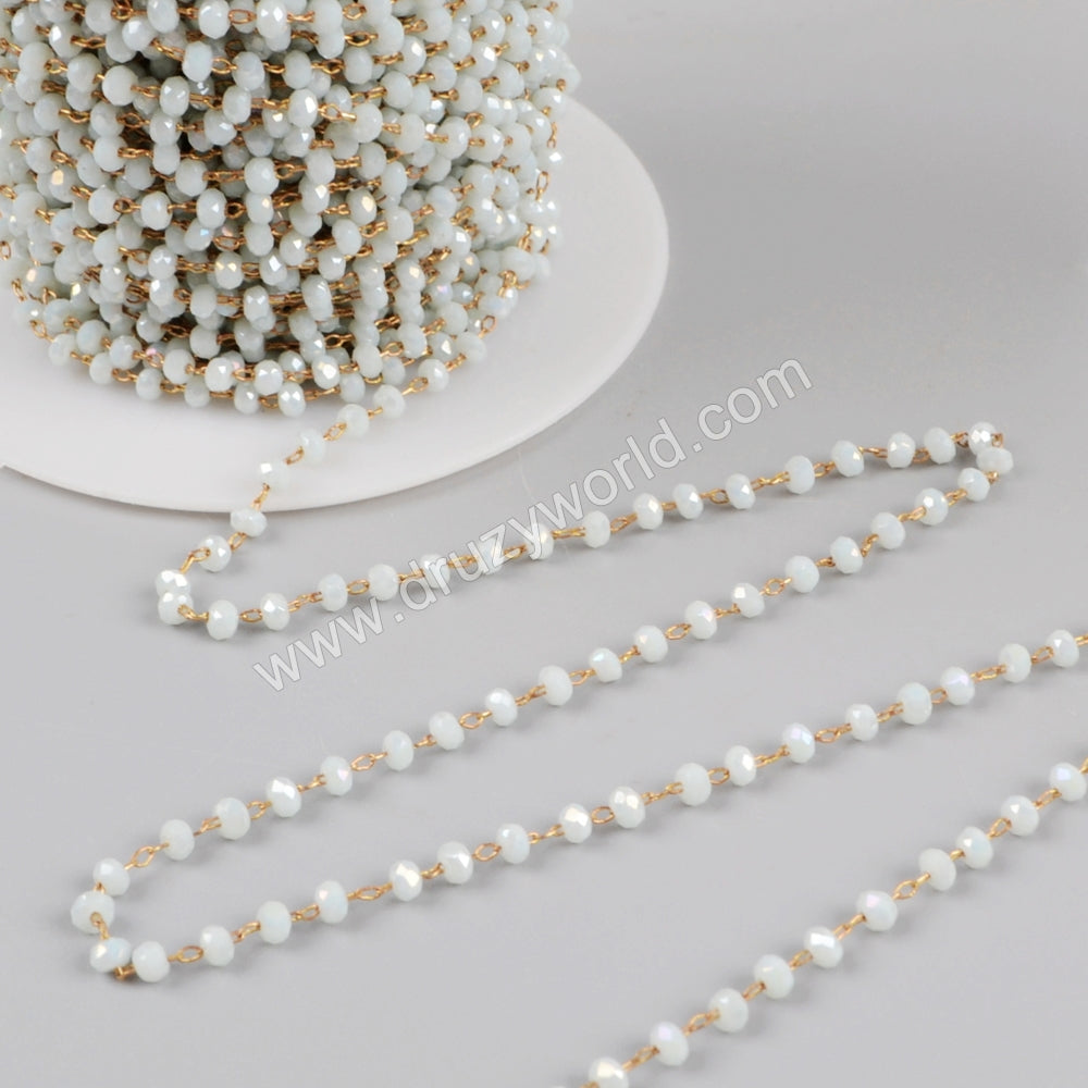 5m/lot,3mm Light Blue Glass Beads Chains  JT175