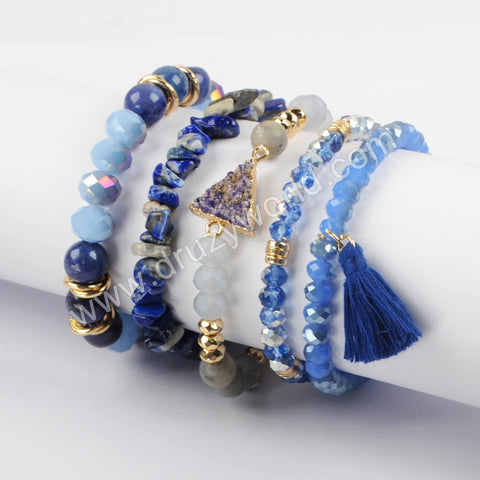 5pieces/set, Blue Jewelry Boho Chic Beaded Bracelet Set WX1183