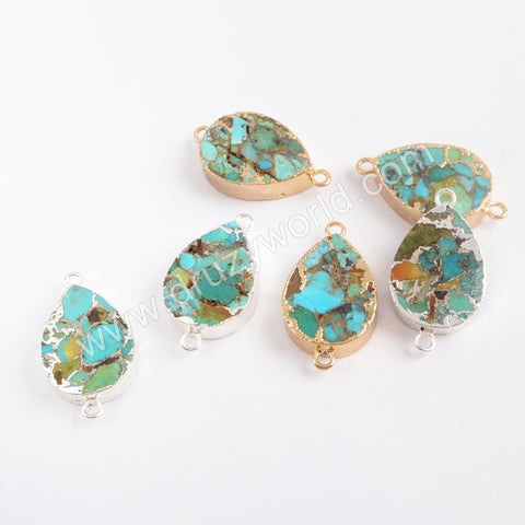 Teardrop Gold Plated Copper Natural Turquoise Connector G1706