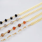 Gold Plated Multi-kind Stone Faceted Point With Rainbow Faceted Beads Long Necklace G1355