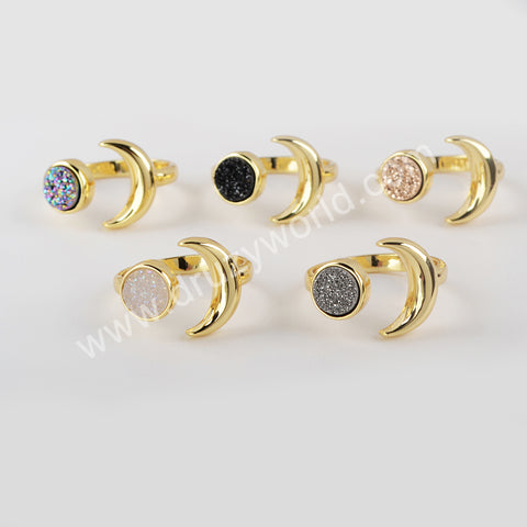Natural Agate Titanium Druzy Open Ring For Women Gold Plated ZG0438