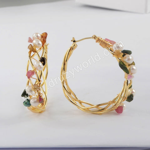 Natural Pearl Multi-kind Stones Earrings Gold Plated WX1317
