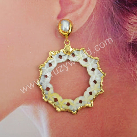Gold Plated Carved Flower Natural Shell Pearl Earrings G1904-E
