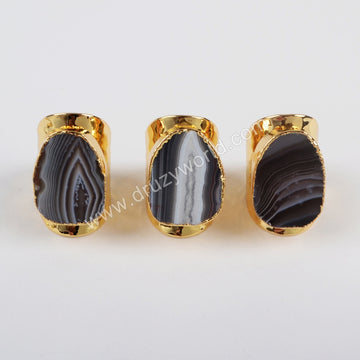 Gold Plated Natural Onyx Agate Druzy Open Band Ring G1389