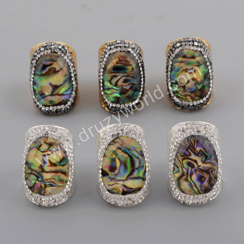 Gold Plated Rhinestone Pave Natural Facted Abalone shell Ring JAB962