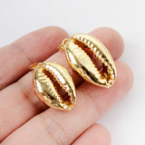Full Gold Plated Natural Cowrie Shell Pendant Bead G1523