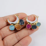 Crescent Gold Plated White Shell & Rainbow Agate Druzy Connector G1856