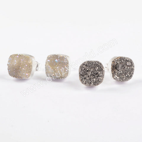 925 Sterling Silver 10mm Square White Druzy Earrings CL279