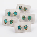 Boho Chic Style Copper Turquoise Stud Earrings Silver Plated S1546