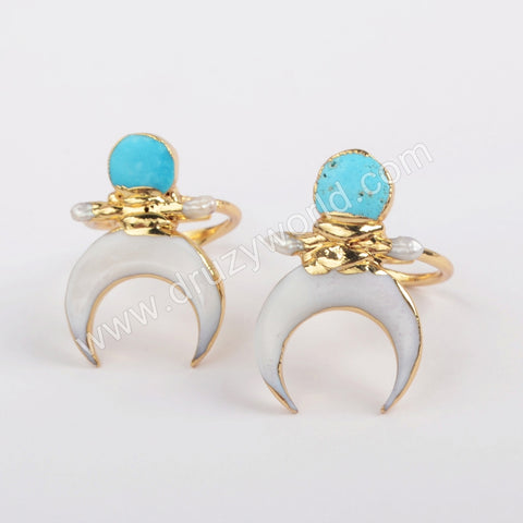Gold Plated Crescent White Shell & Natural Turquoise Adjustable Ring G1862