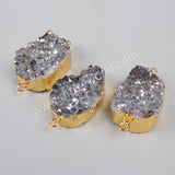 Gold Plated Natural Crystal Quartz Druzy Geode Slice Connector Double Bails G1036