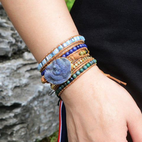 Boho Gold Plated Natural Druzy Stone Beads Bracelet Vintage Leather Wrap Bracelet  HD0050