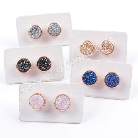 9mm Round Rose Gold Plated Titanium Rainbow Druzy Stud Earrings ZR0198