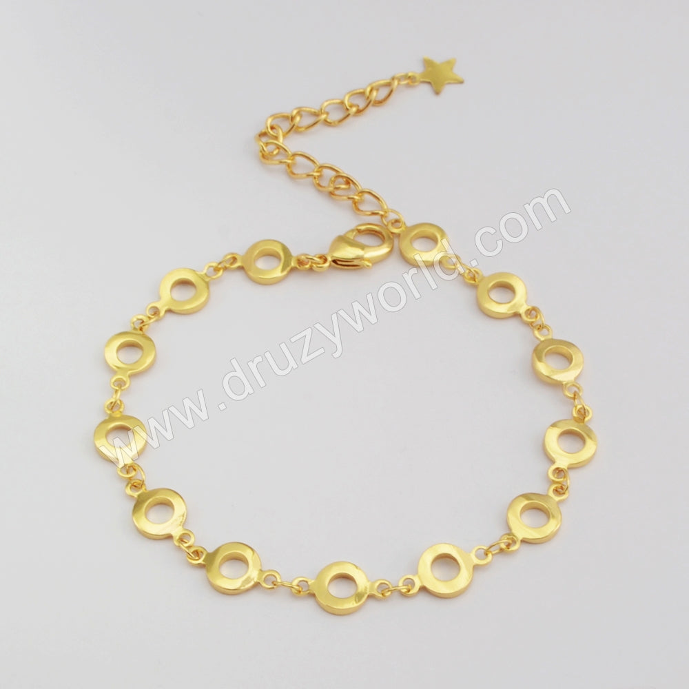 Gold Plated Round Slice Bracelet PJ414