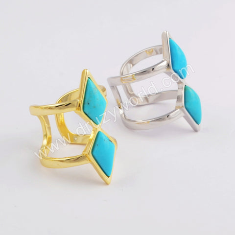 Double Diamond Gold Plated Natural Turquoise Open Ring ZG0403