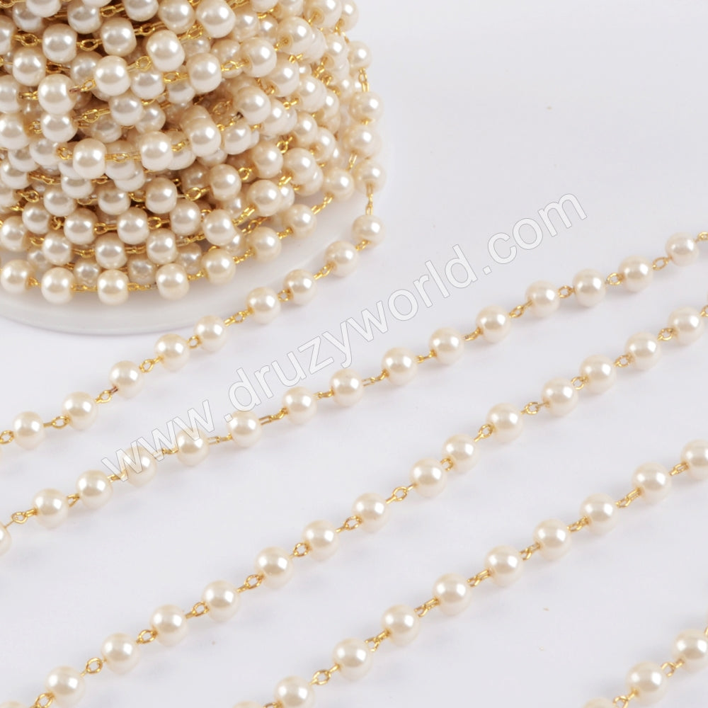 Pearl Rosary Chains In Gold Plated Jewelry Necklace JT267