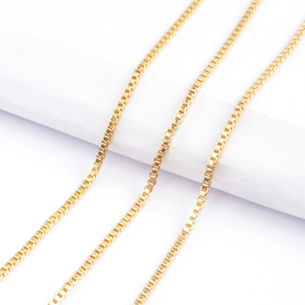 Gold Plated 2mm Thin Box Chain Necklace PJ268-G