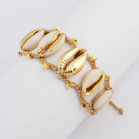 Pure Handmade Five Gold Narural Cowrie Shell Adjustable Rope Bracelet HD0019