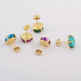 10mm Round Gold Plated Claw Natural Agate Titanium Rainbow Earrings Stud ZG0412