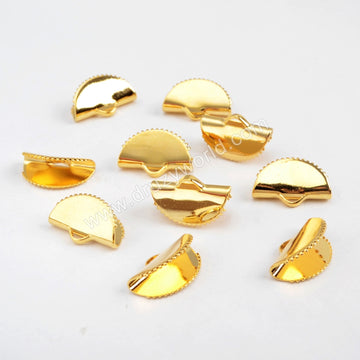 Gold Plated Half Round Claw Clip Flat Charm PJ101