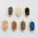 Gold Plated Claw Hexagon Rainbow Color Titanium Druzy Connector ZG0347